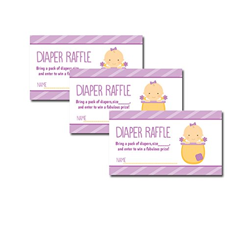 Baby In Flower Pot Purple Girl Baby Shower Diaper Raffle Tickets 20-Pack front-308892