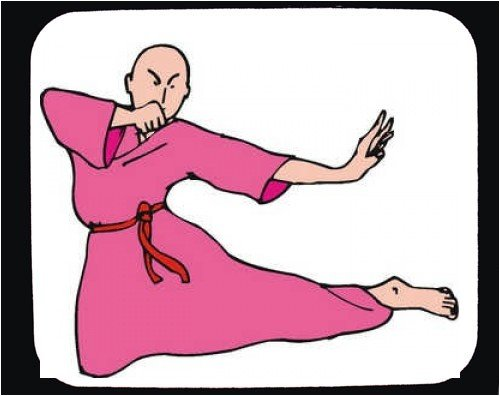 Decorated Mouse Pad with man, stance, bald, China, Asia, kick,