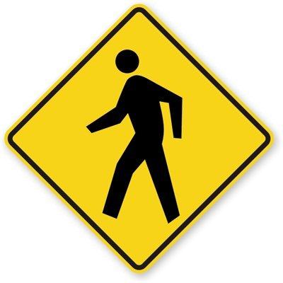 "Pedestrian Symbol, Fluorescent Yellow Green Diamond Grade Reflective Aluminum Sign, 24"" X 24"""