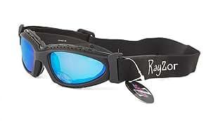 Ray-Zor Masque et Lunettes de Soleil - Multisports - Vtt - Moto - Voile - Conduite - Motard / Mod. Extrem Bleu Miroir / Taille Unique Adulte / Pochette Microfibre Incluse / Protection 100% UV400