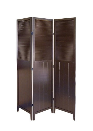 3 Panel Shutter Door Room Divider - Espresso