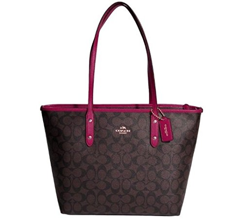 coach-signature-city-zip-tote-bag-brown-fuchsia