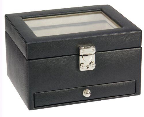 Dulwich Designs Black Leather 6 Piece Watch Box with Cufflink Drawer And Cream Lining