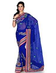 Designersareez Women Chiffon Embroidered Royal Blue Saree With Unstitched Blouse(1196)