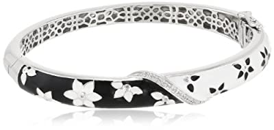 Sterling Silver Diamond Enamel Floral Bangle Bracelet