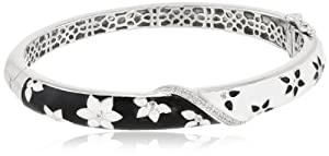 Sterling Silver Diamond Black and White Enamel Floral Bangle Bracelet (0.08 cttw, I-J Color, I2-I3 Clarity)