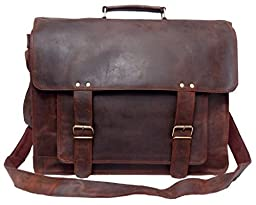 FeatherTouch Men's Vintage Soft Briefcase Leather Laptop Bag 18X12X5 Inches Brown