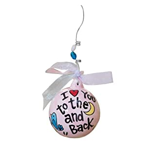 Glory Haus To The Moon and Back Ball Ornament, 4 by 4-Inch, Pink