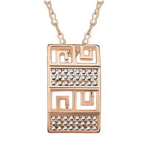 """Alvdis Fashion Jewelry Labyrinth Style Alloy Crystal Pendant Necklace, 16"""", Metal"""