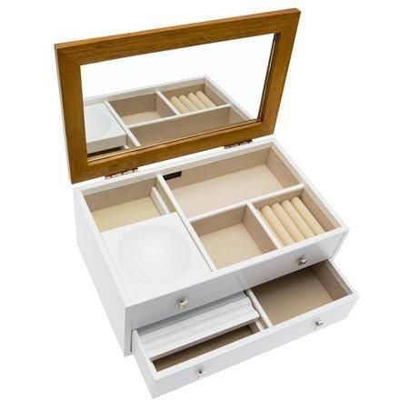 Mele & Co Valerie White & Oak Finish Wood Jewellery Box