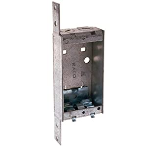Hubbell Raco 405 1-Inch Deep, NMSC clamps, Wood/Metal Stud Bracket Shallow Switch Box, 25-Pack