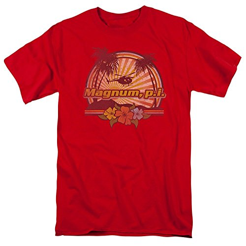 Magnum P.I. PI Hawaiian Sunset Vintage Style NBC 80s TV Show T-Shirt Tee(XX-Large)