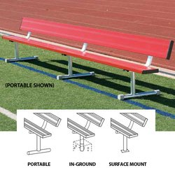 15' Portable Bench w/back (colored) (EA) by BSN Sports