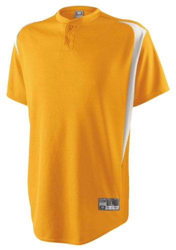 Youth Two Button Placket Razor Jersey, Light Gold/White, Small