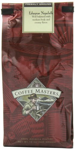 Coffee Masters Gourmet Coffee, Ethiopian Yirgacheffe, Ground, 12-Ounce Bags (Pack of 4)