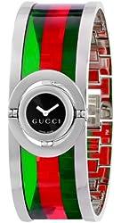 Gucci Women's YA112517 Twirl Small Green Red Acetate Bangle Watch