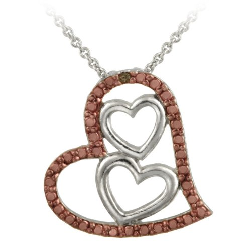 Sterling Silver Two-tone Rose Gold Champagne Diamond Accent Triple Heart Pendant