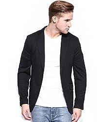 MENJESTIC Men's Slim Fit Blazer CAS_42_Black_X-Large