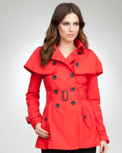 Bebe Cape Trench Coat MARS RED Size X-Small