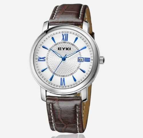 Ufingo-Buiseness Casual Leather Strap Nice Calendar Watch For Men/Boys-White
