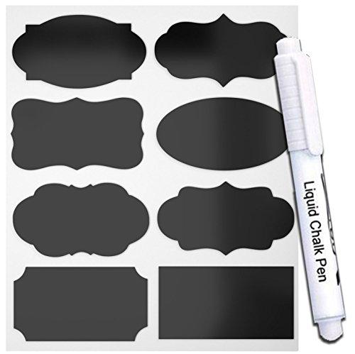 PREMIUM Vinyl Chalkboard Labels (Jar Stickers) + Chalk Marker (40pcs X 8Styles)