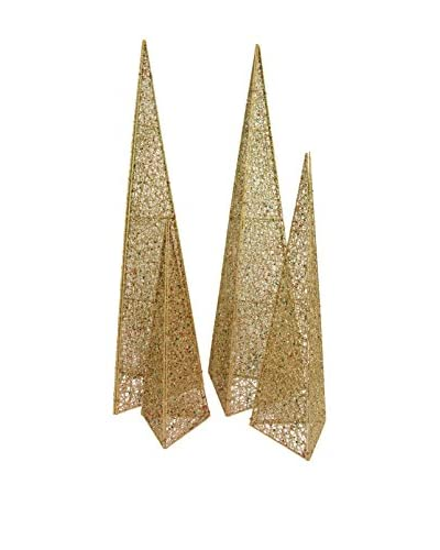 Uptown Down Set of 4 Holiday Trees, Gold