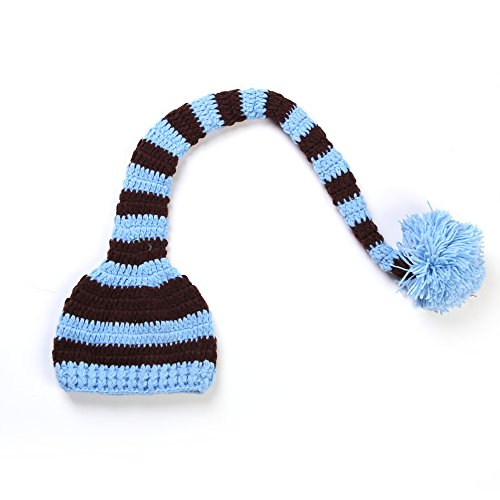 Touch Christmas Baby Boy Girl Crochet Elf Long Tail Pom-Pom Hat Photography Props - A Variety Of Colors (006) front-330003