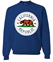 California Republic Emblem White Background Crewneck Sweatshirt by DSC - Royal Small