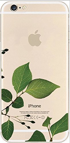 iPhone 6 / 6S Case, DECO FAIRY® Protective Case Bumper Ultra Slim Translucent Silicone Clear Case Gel Cover for Apple (real leaves)
