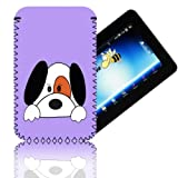 Biz-E-Bee Exclusive 'CUTE DOG 7' Lilac ARCHOS 70 (70b) INTERNET (ARNOVA 7, 7B, 7F, G2 & G3) Shock Shock Resistant 7 Inch Neoprene Tablet Case, Cover, Pouch