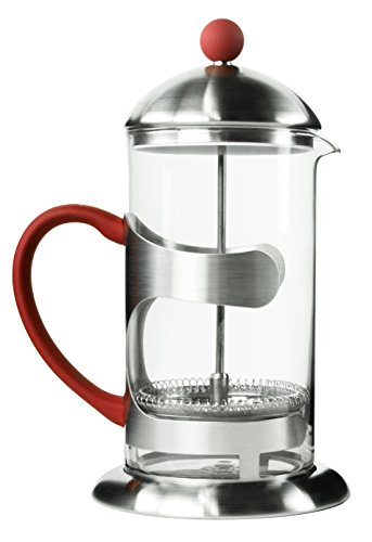 iCoffee Stainless Steel and Clear Glass Large French Press, 33.8 Ounce - Red