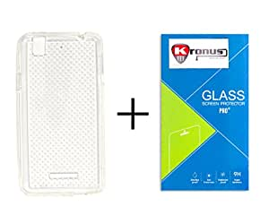 Kronus Ultra Thin 0.3mm Clear Transparent Flexible Soft Dotted TPU Slim Back Case Cover & 2.5D Curve Edged Tempered Glass Screen Protector For Yu Yureka