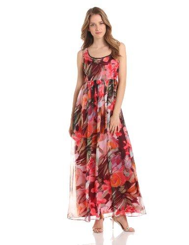 Isaac Mizrahi New York Women's Printed Chiffon Maxi Dress, Multi, 10