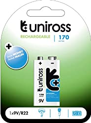 Uniross Performance 1 X 9v 170 Series Rechargeable Battery by Uniross