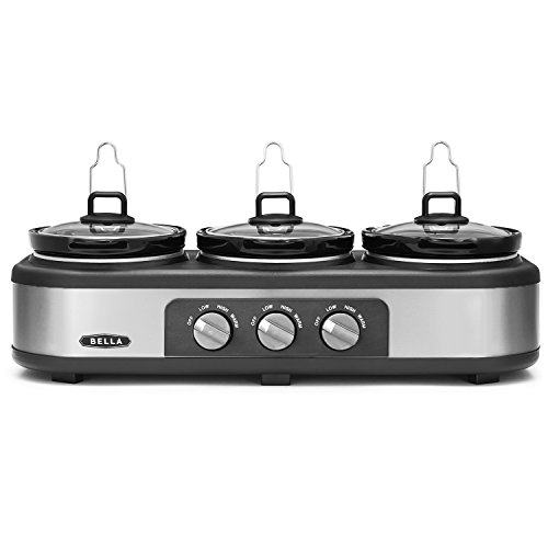 BELLA Triple Slow Cooker and Buffet Server, 3 x1.5 QT Manual Stainless Steel (Crock Pot 3 In 1 compare prices)