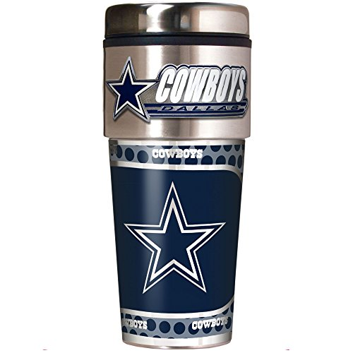 NFL Dallas Cowboys Metallic Travel Tumbler, Stainless Steel and Black Vinyl, 16-Ounce (Dallas Cowboys Coffee Travel Mug compare prices)