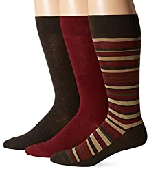 Jockey Men's Multi Stripe 3 Pack Sock, Rich Brown, 10-13/6-12