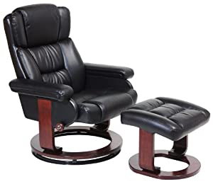 Serta CR-43501 Faux Leather Recliner with Ottoman, Black