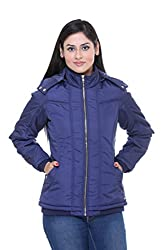 Trufit Full Sleeves Solid Women's Denim Blue Removable Hood Golden Zip Polyester Jacket
