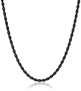 Stainless Steel 050 Rope Chain Black Rhodium Plated Necklace