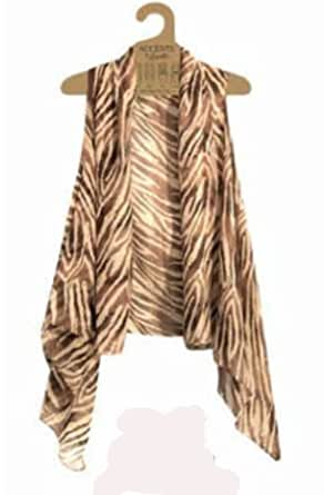 Accents by Lavello Sheer Designer Vest, Brown / Beige Animal Print at