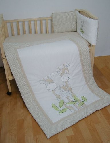 Cosy Giraffe Cot Bed Quilt & Bumper Set by Snuggle Baby