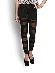Blinkin Criss cross half translucent Black Leggings