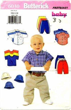 Butterick 6030 Sewing Pattern Infants Shirt T-Shirt Pants Hat Newborn - Medium