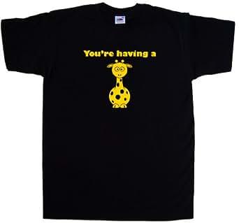 Having A Giraffe Funny Black T-Shirt (Golden Yellow print)-Small