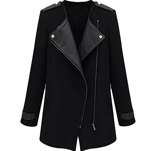 Messicano calda lana magrotta cappotto giacca antivento giacca da donna Outwear nero Small