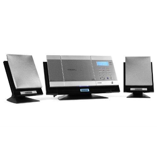 Q.Media QZ-777 Hifi Anlage USB Stereoanlage Vertikal Kompaktanlage (MP3-CD-PLayer, USB-Slot, ID3-Tags,UKW-Radio) silber