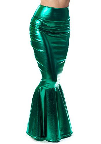 Sidecca Faux Leather Wet Look Metallic Mermaid Costume Maxi Skirt