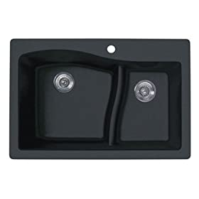 Swanstone QZLS-3322-077 33-Inch by 22-Inch Granite Large/Small Double Bowl Kitchen Sink, Nero Finish