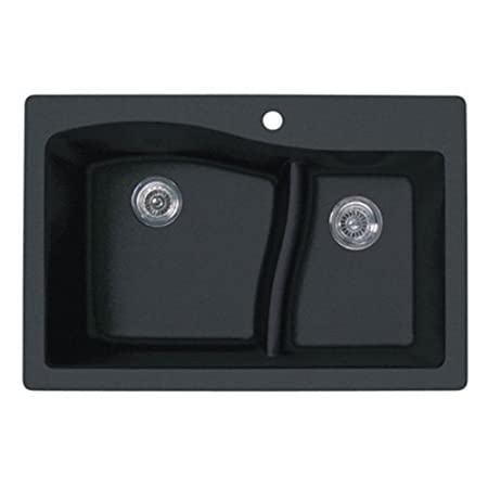 Swanstone QZLS-3322.077 33-Inch by 22-Inch Drop-In Large/Small Bowl Kitchen Sink, Nero